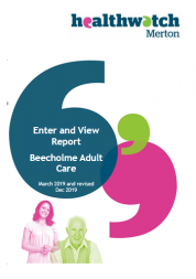 Cover of the Healthwatch Merton report on Beecholme Adult Care 2019